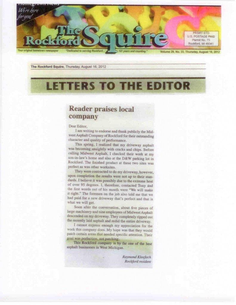 Rockford Squire Letter to the Editor Praising Midwest Asphalt